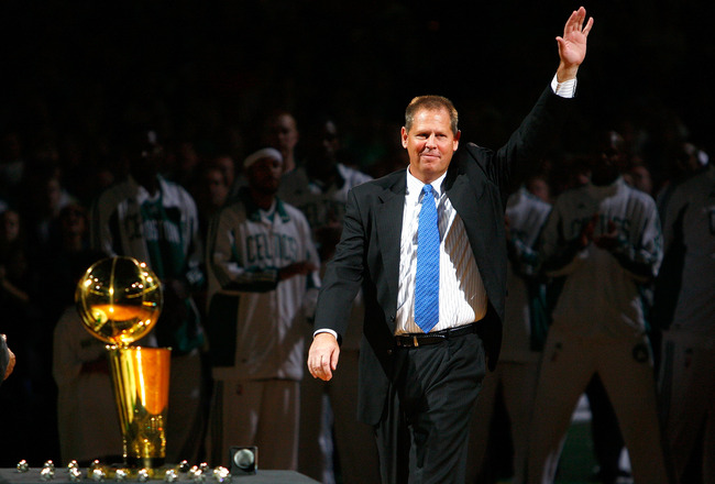 BOSTON, MA - OCTOBER 28: The Boston Celtics President Danny Ainge waves during the 2008 NBA World Championship ceremony before a game against the Cleveland Cavaliers at the TD Banknorth Garden on October 28, 2008 in Boston, Massachusetts. NOTE TO USER: Us