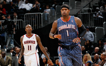 ATLANTA, GA - FEBRUARY 12:  Stephen Jackson #1 of the Charlotte Bobcats reacts after hitting a three-point basket against the Atlanta Hawks at Philips Arena on February 12, 2011 in Atlanta, Georgia.  NOTE TO USER: User expressly acknowledges and agrees th