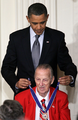 WASHINGTON, DC - FEBRUARY 15:   Baseball Hall of Fame member Stan Musial is presented with the 2010 Medal of Freedom by U.S. President Barack Obama during an East Room event at the White House February 15, 2011 in Washington, DC. Obama presented the medal