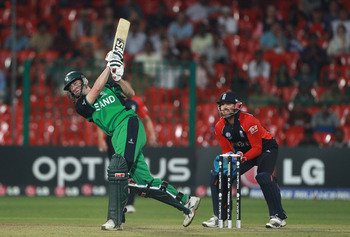 BANGALORE, INDIA - MARCH 02:  Alex Cusack of Ireland hits out during the 2011 ICC World Cup Group B match between England and Ireland at the M. Chinnaswamy Stadium on March 2, 2011 in Bangalore, India.  (Photo by Tom Shaw/Getty Images)