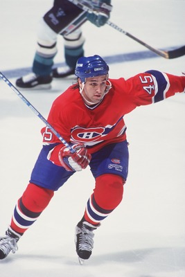 2 MAR 1994:  GILBERT DIONNE, LEFT WING FOR THE MONTREAL CANADIENS, SKATES DURING THEIR 5-2 WIN OVER THE MIGHTY DUCKS OF ANAHEIM AT THE POND IN ANAHEIM, CALIFORNIA.   Mandatory Credit: Glenn Cratty/ALLSPORT
