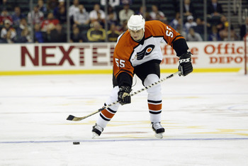 SUNRISE, FL - FEBRUARY 1:  Pavel Brendl #55 of the Philadelphia Flyers shoots the puck during the NHL YoungStars game on February 1, 2003 at the Office Depot Center in Sunrise, Florida.  The East defeated the West 8-3. (Photo by Elsa/Getty Images/NHLI)