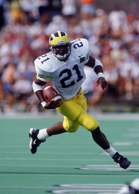 2 Sep 1995: Running back Tim Biakabutuka of the Michigan Wolverines carries the football during the Wolverines 38-14 victory over the Illinois Fighting Illini at Memorial Stadium in Champaign, Illinois.