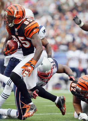FOXBORO, MA - SEPTEMBER 12:  Chad Ochocinco #85 of the Cincinnati Bengals carries the ball against the New England Patriots during the NFL season opener on September 12, 2010 at Gillette Stadium in Foxboro, Massachusetts.  (Photo by Elsa/Getty Images)