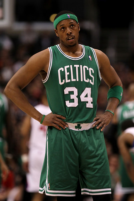 LOS ANGELES, CA - FEBRUARY 26:  Paul Pierce #34 of the Boston Celtics stands on the court during the game with the Los Angeles Clippers at Staples Center on February 26, 2011  in Los Angeles, California.  NOTE TO USER: User expressly acknowledges and agre