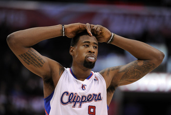 LOS ANGELES, CA - DECEMBER 01:  DeAndre Jordan #9 of the Los Angeles Clippers reacts after two missed free throws against the San Antonio Spurs at the Staples Center on December 1, 2010 in Los Angeles, California.  NOTE TO USER: User expressly acknowledge