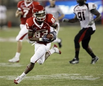 WR Patrick Edwards is one happy Cougar since quarterback Case Keenum will return for another season in 2011.