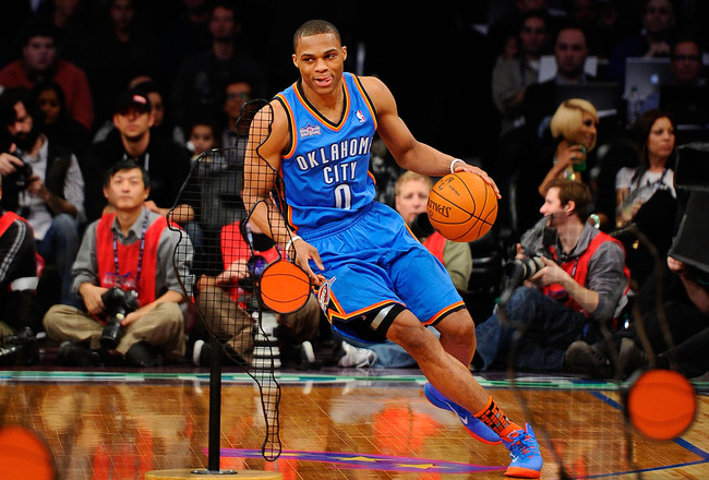 LOS ANGELES, CA - FEBRUARY 19:  Russell Westbrook #0 of the Oklahoma City Thunder competes in the Taco Bell Skills Challenge apart of NBA All-Star Saturday Night at Staples Center on February 19, 2011 in Los Angeles, California.  (Photo by Kevork Djansezi
