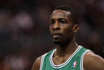 LOS ANGELES, CA - FEBRUARY 26:  Jeff Green #8 of the Boston Celtics stands on the court during the game with the Los Angeles Clippers at Staples Center on February 26, 2011  in Los Angeles, California.  The Celtics won 99-92.   NOTE TO USER: User expressl