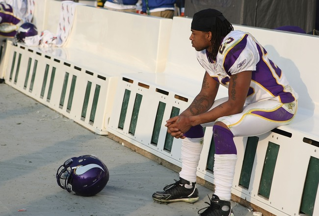 GREEN BAY, WI - NOVEMBER 11: Cedric Griffin #23 of the Minnesota Vikings sits on the bench in the final minutes of a loss to the Green Bay Packers on November 11, 2007 at Lambeau Field in Green Bay, Wisconsin. The Packers defeated the Vikings 34-0. (Photo