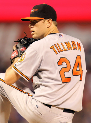 ARLINGTON, TX - JULY 10:  Pitcher Chris Tillman #24 of the Baltimore Orioles throws against the Texas Rangers on July 10, 2010 at Rangers Ballpark in Arlington, Texas.  (Photo by Ronald Martinez/Getty Images)