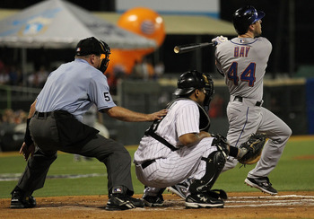 SAN JUAN, PUERTO RICO - JUNE 28:  Jason Bay #44 of the New York Mets hits a home run against Ricky Nolasco #47 of the Florida Marlins during their game at Hiram Bithorn Stadium on June 28, 2010 in San Juan, Puerto Rico.  (Photo by Al Bello/Getty Images)