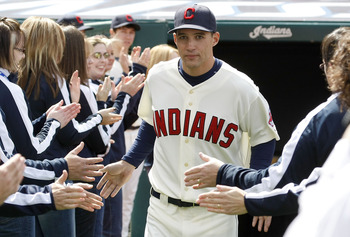 CLEVELAND, OH - APRIL 12:  Grady Sizemore #24 of the the Cleveland Indians is introduced to fans on Opening Day prior to playing the Texas Rangers on April 12, 2010 at Progressive Field in Cleveland, Ohio.  (Photo by Gregory Shamus/Getty Images)