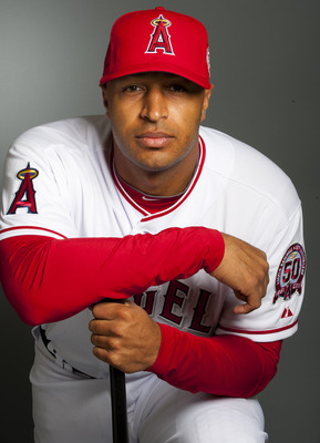 TEMPE, AZ - FEBRUARY 21: Vernon Wells #10 of the Los Angeles Angels of Anaheim poses during their photo day at Tempe Diablo Stadium on February 21, 2011 in Tempe, Arizona.  (Photo by Rob Tringali/Getty Images)