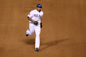 ARLINGTON, TX - NOVEMBER 01:  Nelson Cruz #17 of the Texas Rangers runs the bases on his solo home run in the seventh inning against the San Francisco Giants in Game Five of the 2010 MLB World Series at Rangers Ballpark in Arlington on November 1, 2010 in