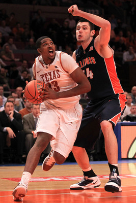 NEW YORK - NOVEMBER 18:  Tristan Thompson #13 of the Texas Longhorns drives past Mike Tisdale #54 of the Illinois Fighting Illini during the 2k Sports Classic at Madison Square Garden on November 18, 2010 in New York, New York.  (Photo by Chris McGrath/Ge