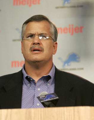 ALLEN PARK, MI - NOVEMBER 28:  President and CEO, Matt Millen of the Detroit Lions, speaks to the media during a press conference announcing head coach Steve Mariucci was let go and replaced on an interim basis by defensive coordinator, Dick Jauron on Nov