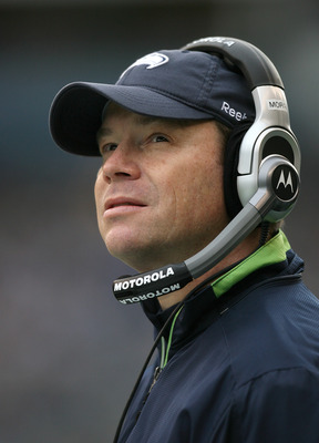 SEATTLE - JANUARY 03:  Head coach Jim Mora of the Seattle Seahawks looks on against the Tennessee Titans on January 3, 2010 at Qwest Field in Seattle, Washington. The Titans defeated the Seahawks 17-13. (Photo by Otto Greule Jr/Getty Images)