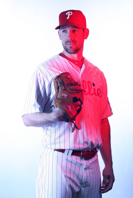 CLEARWATER, FL - FEBRUARY 22:  (EDITORS NOTE: Image was shot with a colored gel on lights) Cliff Lee #33 of the Philadelphia Phillies poses for a photo during Spring Training Media Photo Day at Bright House Networks Field on February 22, 2011 in Clearwate