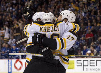 VANCOUVER, CANADA - FEBRUARY 26: Milan Lucic #17 celebrates with David Krejci #46 of the Boston Bruins after scoring against the Vancouver Canucks during the third period in NHL action on February 26, 2011 at Rogers Arena in Vancouver, British Columbia, C