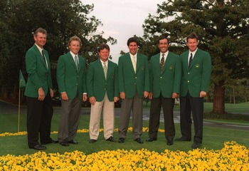 4  APR 1995:  PAST EUROPEAN MASTERS CHAMPIONS LEFT TO RIGHT SANDY LYLE OF SCOTLAND, BERNHARD LANGER OF GERMANY, IAN WOOSNAM OF WALES, JOSE MARIA OLAZABAL OF SPAIN, SEVE BALLESTEROS OF SPAIN AND NICK FALDO OF ENGLAND POSE OUTSIDE THE CLUBHOUSE PRIOR TO THE