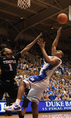 DURHAM, NC - FEBRUARY 23:  Khalif Wyatt #1 of the Temple Owls tries to stop Nolan Smith #2 of the Duke Blue Devils during their game at Cameron Indoor Stadium on February 23, 2011 in Durham, North Carolina.  (Photo by Streeter Lecka/Getty Images)