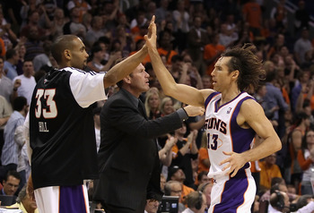 PHOENIX - NOVEMBER 05:  Steve Nash #13 of the Phoenix Suns high fives teammate Grant Hill #33 during the NBA game against the Memphis Grizzlies at US Airways Center on November 5, 2010 in Phoenix, Arizona.  The Suns defeated the Grizzlies 123-118 in doubl