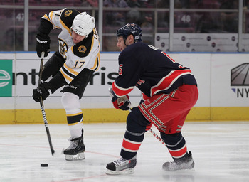 NEW YORK - NOVEMBER 17:  Milan Lucic #17 of the Boston Bruins in action against Dan Girardi #5 of the New York Rangers during their game on November 17, 2010 at Madison Square Garden in New York City, New York.  (Photo by Al Bello/Getty Images)
