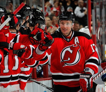 NEWARK, NJ - MARCH 02:  Ilya Kovalchuk #17 of the New Jersey Devils celebrates scoring what turned out to be the winning goal during the third period of an NHL hockey game against the Tampa Bay Lightning at the Prudential Center on March 2, 2011 in Newark