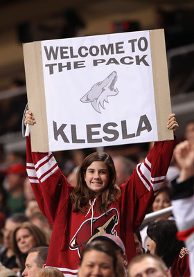 GLENDALE, AZ - MARCH 01:  A fan of the Phoenix Coyotes holds up a sign to welcome Rostislav Klesla during the NHL game against the Dallas Stars at Jobing.com Arena on March 1, 2011 in Glendale, Arizona.  (Photo by Christian Petersen/Getty Images)