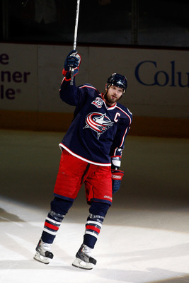 COLUMBUS, OH - FEBRUARY 11:  Rick Nash #61 of the Columbus Blue Jackets salutes the crowd after being named the number one star after helping defeat the Colorado Avalanche 3-1 on February 11, 2011 at Nationwide Arena in Columbus, Ohio. (Photo by John Grie
