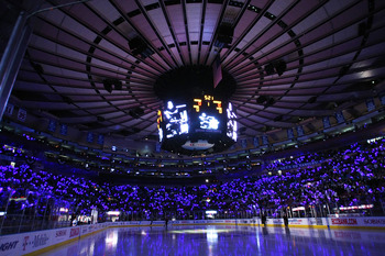 NEW YORK - APRIL 20: Fans were given glow sticks on their way into the game between the New York Rangers and the Washington Capitals for Game Three of the Eastern Conference Quarterfinal Round of the 2009 NHL Stanley Cup Playoffs at Madison Square Garden