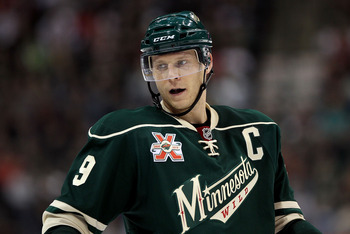 ST PAUL, MN - OCTOBER 16:  Mikko Koivu #9 of the Minnesota Wild looks on during the game against the Columbus Blue Jackets at Xcel Energy Center on October 16, 2010 in St Paul, Minnesota.  (Photo by Jeff Gross/Getty Images)
