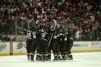 ANAHEIM, CA - MARCH 2:  The Anaheim Ducks celebrate after their sudden death overtime goal against the Detroit Red Wings on March 2, 2011 at the Honda Center in Anaheim, California.   The Ducks won 2-1 in overtime.  (Photo by Stephen Dunn/Getty Images)