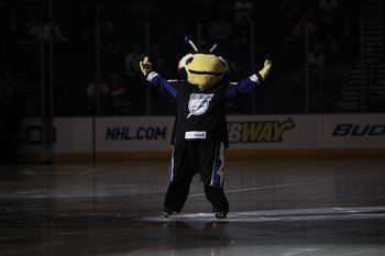TAMPA, FL - JANUARY 27: The Tampa Bay Lightning mascot Thunderbug enetertains fan before the Lightning game against the Montreal Canadiens of the Tampa Bay Lightning at the St. Pete Times Forum on January 27, 2010 in Tampa, Florida. (Photo by Bruce Bennet