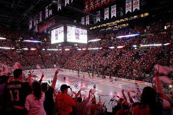 MONTREAL, QC - MAY 22:  Fans cheer as the Montreal Canadiens are introduced before playing against the Philadelphia Flyers in Game 3 of the Eastern Conference Finals during the 2010 NHL Stanley Cup Playoffs at Bell Centre on May 20, 2010 in Montreal, Cana