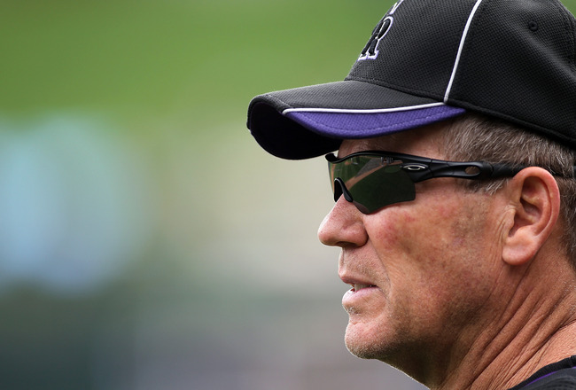 SCOTTSDALE, AZ - FEBRUARY 26:  Manager Jim Tracy #4 of the Colorado Rockies watches during a game against the Arizona Diamondbacks at Salt River Fields on February 26, 2011in Scottsdale, Arizona..  (Photo by Jonathan Ferrey/Getty Images)
