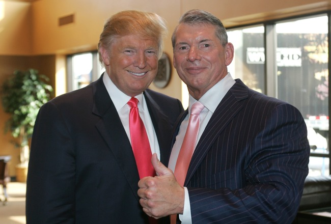 GREEN BAY, WI - JUNE 22:  Vince McMahon (L) and Donald Trump attend a press conference about the WWE at the Austin Straubel International Airport on June 22, 2009 in Green Bay, Wisconsin.  (Photo by Mark A. Wallenfang/Getty Images)
