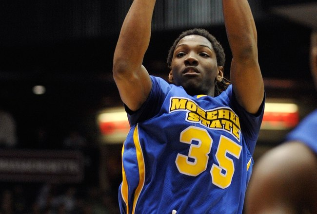 DAYTON, OH - MARCH 17:  Kenneth Faried #35 of the Morehead State Eagles takes a shot against the Alabama State Hornets during the opening round of the Men's NCAA Tournament on March 17, 2009 at the University of Dayton Arena in Dayton, Ohio.  (Photo by Ja