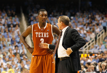 GREENSBORO, NC - DECEMBER 18:  Jordan Hamilton #3 and head coach Rick Barnes of the Texas Longhorns against the North Carolina Tar Heels at Greensboro Coliseum on December 18, 2010 in Greensboro, North Carolina.  (Photo by Kevin C. Cox/Getty Images)