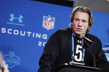 INDIANAPOLIS, IN - FEBRUARY 25:  Missouri Tigers quarterback Blaine Gabbert answers questions during a media session at the 2011 NFL Scouting Combine at Lucas Oil Stadium on February 25, 2011 in Indianapolis, Indiana. (Photo by Joe Robbins/Getty Images)