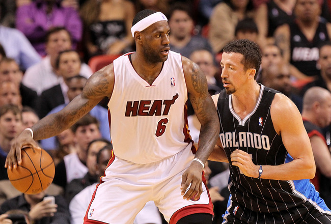 MIAMI, FL - MARCH 03: LeBron James #6 of the Miami Heat posts up Hedo Turkoglu #15 of the Orlando Magic during a game at American Airlines Arena on March 3, 2011 in Miami, Florida. NOTE TO USER: User expressly acknowledges and agrees that, by downloading