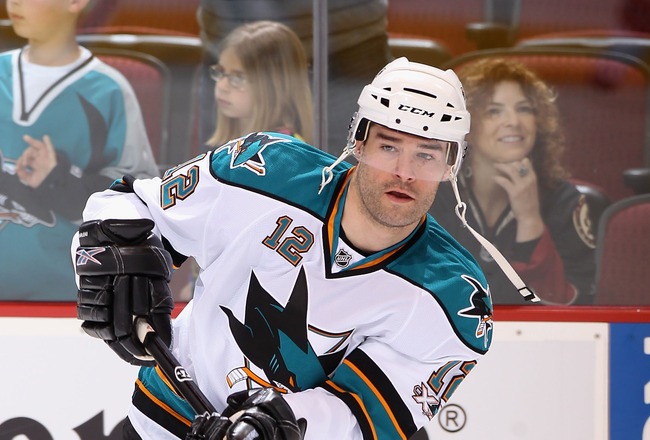 GLENDALE, AZ - MARCH 26:  Patrick Marleau #12 of the San Jose Sharks warms up before the NHL game against the Phoenix Coyotes at Jobing.com Arena on March 26, 2011 in Glendale, Arizona.  The Sharks defeated the Coyotes 4-1.  (Photo by Christian Petersen/G