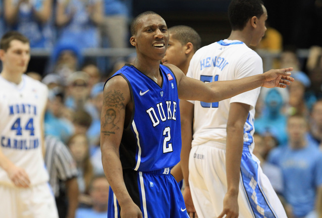 CHAPEL HILL, NC - MARCH 05:  Nolan Smith #2 of the Duke Blue Devils reacts to a call against the North Carolina Tar Heels during their game at the Dean E. Smith Center on March 5, 2011 in Chapel Hill, North Carolina.  (Photo by Streeter Lecka/Getty Images