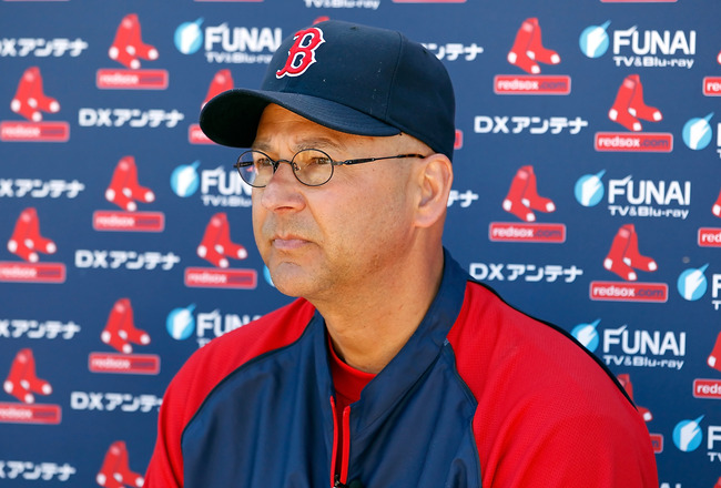 FORT MYERS, FL - FEBRUARY 19:  Manager Terry Francona of the Boston Red Sox talks with the media during a Spring Training Workout Session at the Red Sox Player Development Complex on February 19, 2011 in Fort Myers, Florida.  (Photo by J. Meric/Getty Imag