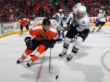 PHILADELPHIA - NOVEMBER 18: Claude Giroux #28 of the Philadelphia Flyers skates against Victor Hedman #77 of the Tampa Bay Lightning at the Wells Fargo Center on November 18, 2010 in Philadelphia, Pennsylvania. The Lightning defeated the Flyers 8-7.  (Pho