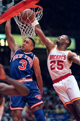 19 Jun 1994: NEW YORK KNICK JOHN STARKS #3, PUTS IN A DUNK PAST HOUSTON ROCKET ROBERT HORRY DURING THE FOURTH QUARTER OF GAME 6 OF THE NBA CHAMPIONSHIPS IN HOUSTON. THE ROCKETS PUSHED THE KNICKS TO A SEVENTH AND FINAL GAME WITH AN 86-84 VICTORY AT THE SUM