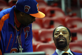 MIAMI - DECEMBER 28:  Actor/ Director Spike Lee with NBA Legend Walt Frazier at the Miami Heat against the New York Knicks game at American Airlines Arena on December 28, 2010 in Miami, Florida.  (Photo by Marc Serota/Getty Images)