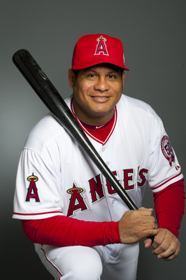 TEMPE, AZ - FEBRUARY 21: Bobby Abreu #53 of the Los Angeles Angels of Anaheim poses during their photo day at Tempe Diablo Stadium on February 21, 2011 in Tempe, Arizona.  (Photo by Rob Tringali/Getty Images)