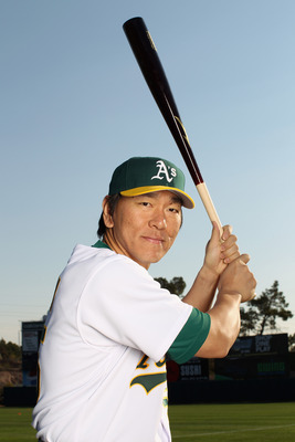 PHOENIX, AZ - FEBRUARY 24:  Hideki Matsui i#55 of the Oakland Athletics poses for a portrait during media photo day at Phoenix Municipal Stadium on February 24, 2011 in Phoenix, Arizona.  (Photo by Ezra Shaw/Getty Images)